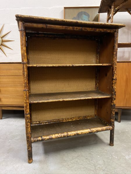 Victorian 'Tortoiseshell' Bamboo Open Bookcase & Side Table