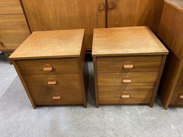 Vintage Pair of Mid Century Teak Vintage 3 Drawer Bedside Cabinets by Stag