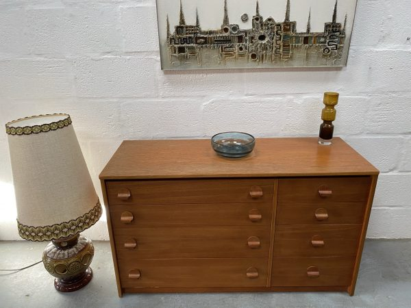 1970s Vintage Retro STAG Teak Chest of 8 Drawers