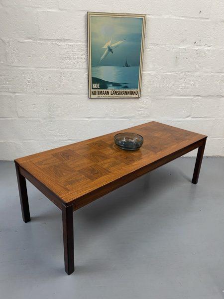 Vintage Rosewood Veneer Long Coffee Table by Heggen