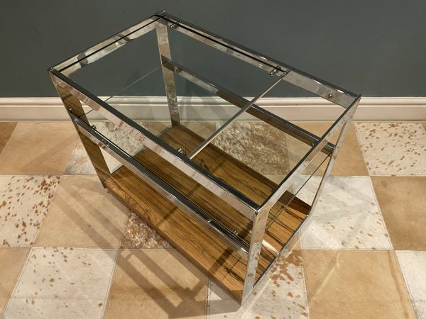 Vintage Merrow Associates Rosewood And Chrome Bar Cart Drinks Trolley By Richard Young