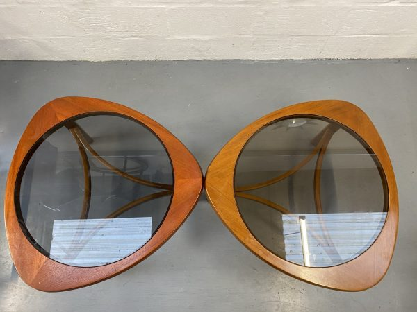 "Pair of Vintage Glass Topped Triangular ""Atomic"" Coffee Tables by Nathan"