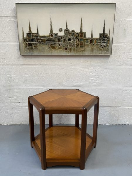 Danish Mid Century Teak Hexagonal Side Table / Lamp Table