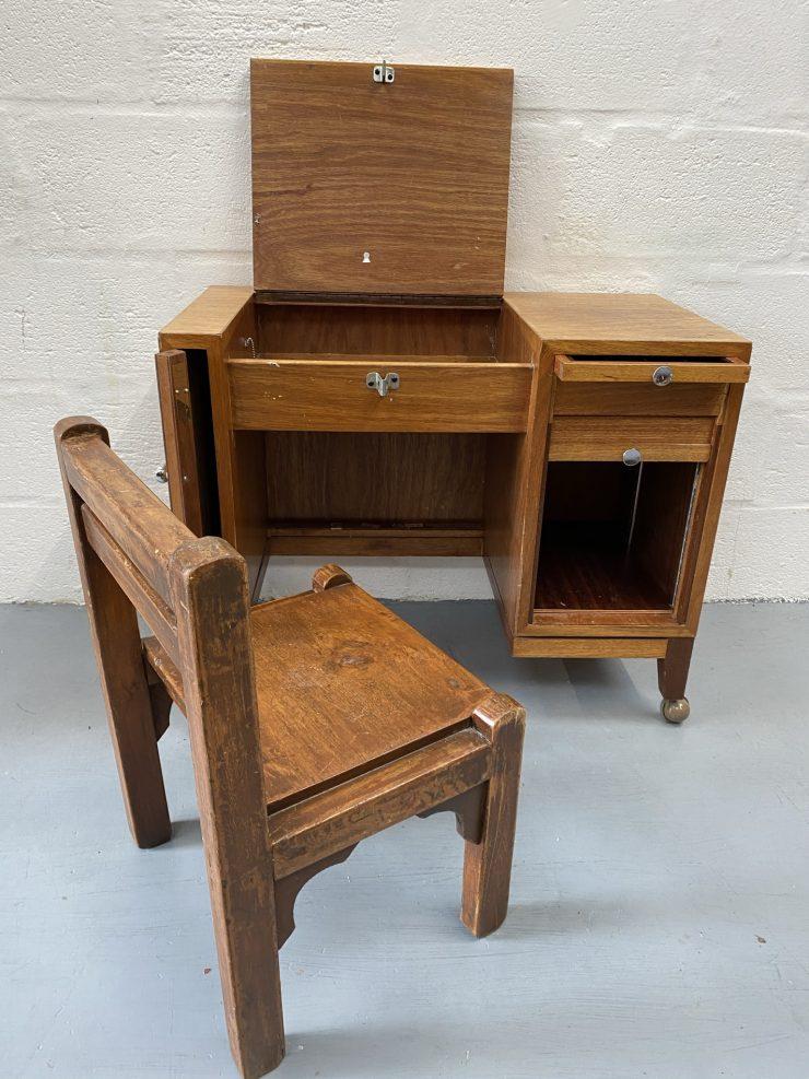 Vintage Child's Oak Desk and Chair