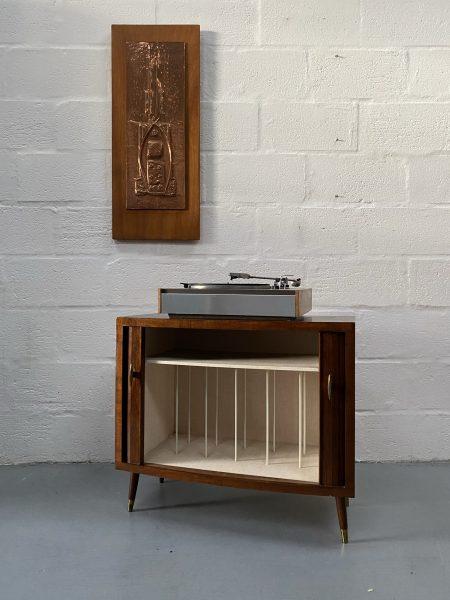 Mid Century Vintage Tambour Door Record / Storage Cabinet
