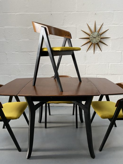 Vintage Atomic Mid Century Extending Dining Table & 4 Chairs in the Manner of Allen Gould