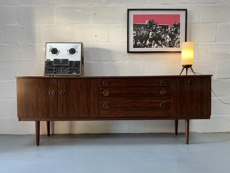 Vintage Late 1960s Greaves & Thomas Rosewood Sideboard