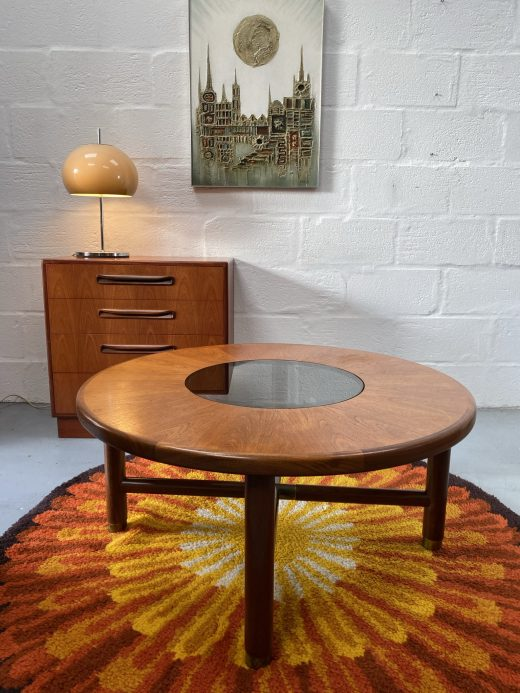 Classic Retro G Plan Teak Retro Circular Coffee Table With Smoked Glass Centre