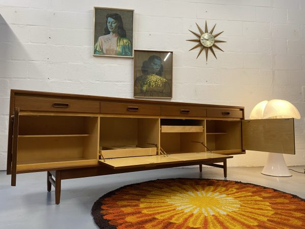 Mid Century Vintage Long Teak Sideboard By White & Newton Ltd Portsmouth