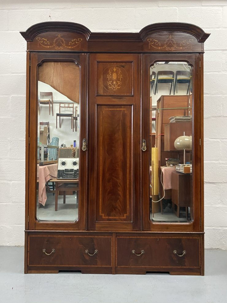 Edwardian Mahogany Two Door Mirrored Wardrobe