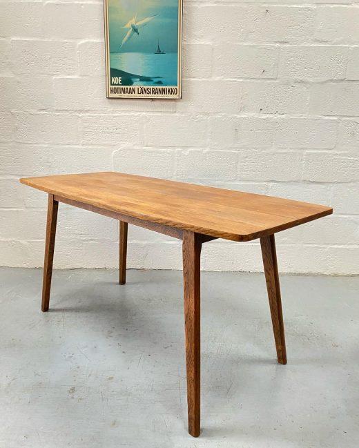 Vintage Mid Century Oak Plank Top Dining Table