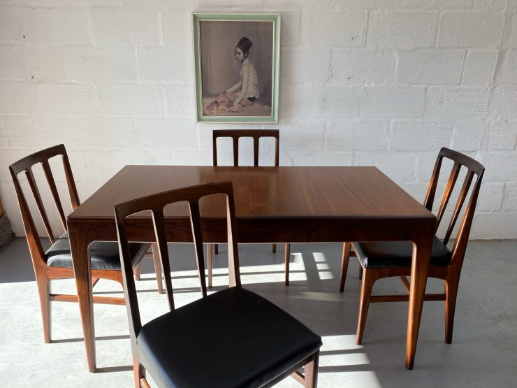 1960's Vintage Teak Dining Table by John Herbert for Younger & 4 Chairs