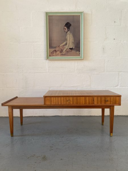 Mid Century Telephone Hall Table / Bench with Seat and Two Reversible Drawers by Chippy Heath