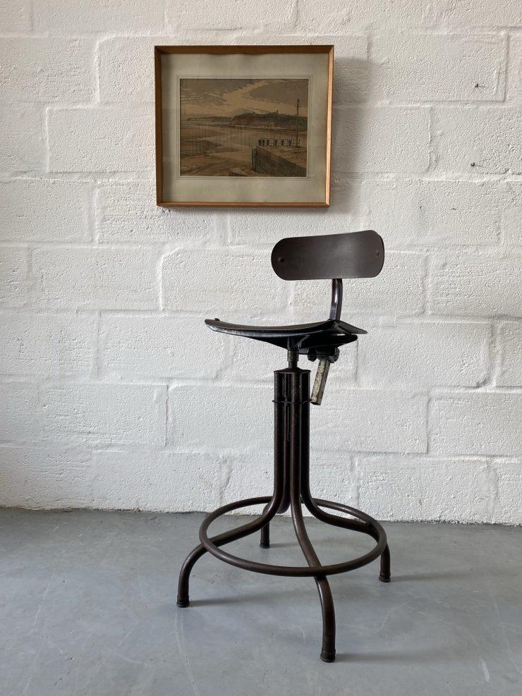 1950s Vintage Tan-Sad Factory Swivel Chair