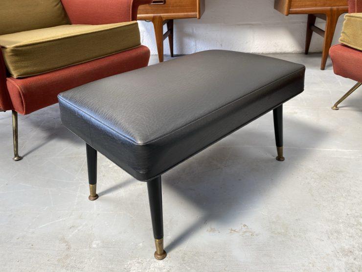 Vintage Mid Century Black Vinyl Foot Stool / Seat Atomic Dansette Legs