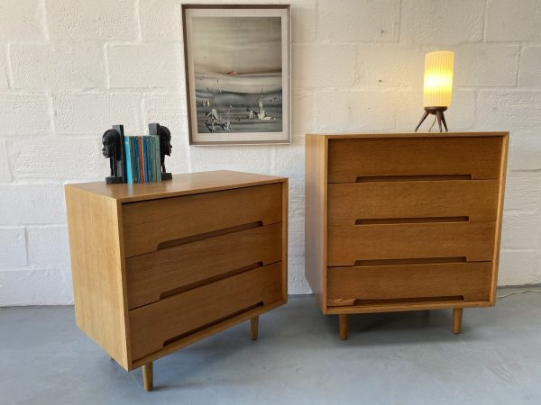Pair of 1950s Mid Century Vintage Oak Stag 'C' Range Chest of Drawers